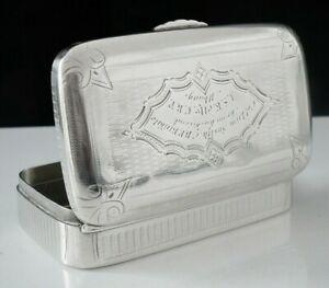 American Antique Coin Silver Snuff Box, Colonel Lum Smith C.B.P