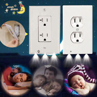 Plug Wall Outlet Cover Plate With LED Night Light for Hallway Bedroom Bathroom