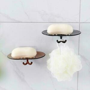 Bathroom Soap Dish Holder Shower Soap Box Dish Storage Container Suction F2V1
