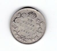 1921 Canada 10 Cents cent Coin Silver T-875