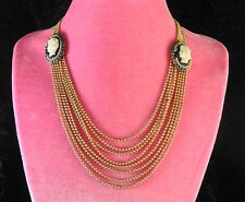 Vtg Art Deco Brass Bead Pull Chain Seed Pearl Cameo Bib Necklace-Estate