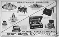 PUBLICITÉ KIRBY BEARD & Co ORFEVRERIE ANGLAISE MAROQUINERIE DE VOYAGE