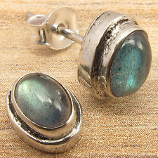 Natural LABRADORITE Cabochon Gems Fashion Little Stud Earrings 925 Silver Plated