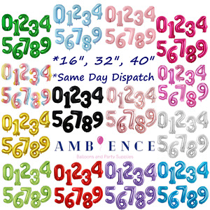 """Number Balloons 16"""" 32"""" 40"""" Inch Large Air Helium Foil Birthday Party 0123456789"""