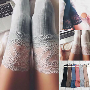 Womens Thigh-High Over the Knee Socks Long Lace Trim Cotton Stockings Leggings