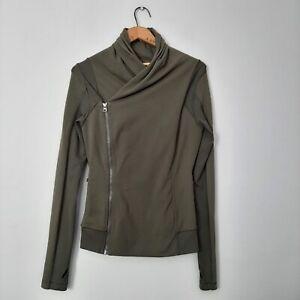 Lululemon Womens Size 8 Fatigue Green Bhakti Yoga Jacket Asymmetrical Zip