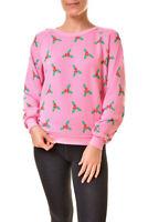 Wildfox Womens Under The Mistletoe Christmas Sweater Dream House Pink S