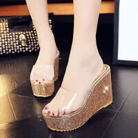 Womens Clear Transparent Open toe High Wedge Heel Slippers Shoes Sandals Slip on