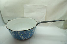 ANTIQUE GRANITEWARE COOK POT BLUE SWIRL LARGE PAN WITH HANDLE 12in x 6inH OLD