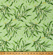 Lily of the Valley Flowers Floral Green Greenery Cotton Fabric Print BTY D303.19