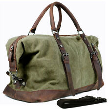 Vintage Men Military canvas Leather duffle Bag Large Travel Bag luggage Bag Tote