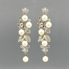 18K Gold Plated Clear Crystal Pearl Wedding Chandelier Drop Dangle Earrings 7056