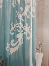 "Threshold Light Turquoise Modern Floral Fabric Shower Curtain 72"" x 72"" NIP"