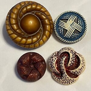 Vintage Buffed Celluloid Buttons 4 Interesting Twisted Woven Designs