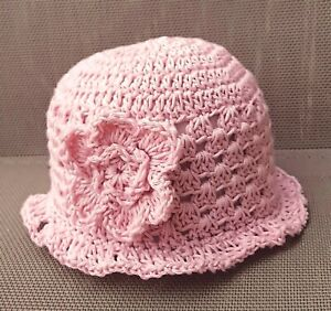 BABY GIRLS DUSTY PINK SUN HAT shower gift 100% cotton flower brimmed summer cap