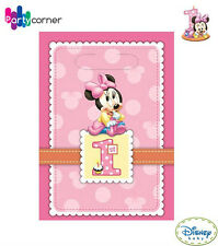 MINNIE MOUSE 1ST BIRTHDAY PARTY SUPPLIES LOOT BAGS PACK OF 8