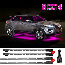 PINK 12PC LED Car Interior Low Profile Under Body Light Slim Tube+EZ Mount+3Mode