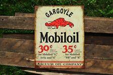 Mobiloil Gargoyle  - Tin Metal Sign - Mobil Oil - Gas - Mobilgas - Retro