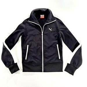 PUMA Womens Black/White Activewear Track Jacket Size Extra Small