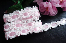 Venise Lace, trim 5/8 inches wide white/pink ribbon color price for 1 yard