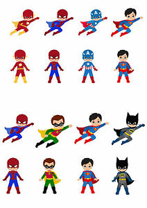 16 Stand Up Cute Superhero Edible Wafer Rice Paper Cupcake Cake Toppers