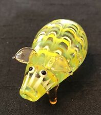 Fitz & Floyd Glass Menagerie Pig Figurine~Yellow~Green~Red