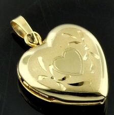 14k solid yellow gold locket heart pendant #3774