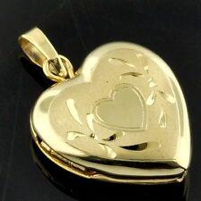 14k solid yellow gold locket heart pendant #3774
