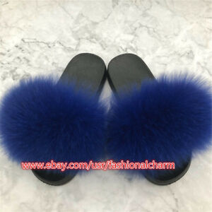 Good Quality Womens Real Fox Fur Slides Slippers Beach Sandals Holiday Shoes