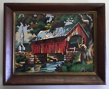 Vtg Framed 9 x 12 Snowy Covered Bridge, Stream and Church Paint by Number PBN