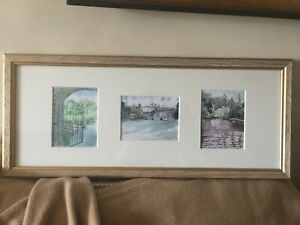 Framed 3 Signed Miniature Watercolours by Artist Peter Peacock