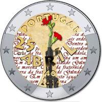 2 Euro Gedenkmünze Portugal 2014 coloriert /mit Farbe Farbmünze Nelkenrevolutiot