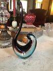 Vintage FM Ronneby Konstglas Bird Long Tail Art Glass Figure Sweden -Blue Purple