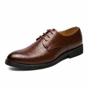 Men's Pointed Toe Faux Leather Business Formal Lace Up Dress Shoes Wedding Party