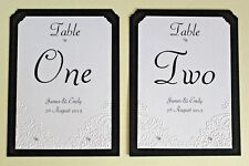 Personalised wedding table number/name cards. Butterfly embossed. Any colour