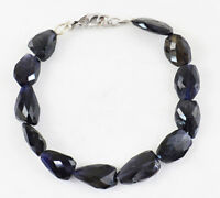 """110.00 Cts Earth Mined Untreated 8"""" Inches Long Iolite Faceted Beads Bracelet"""