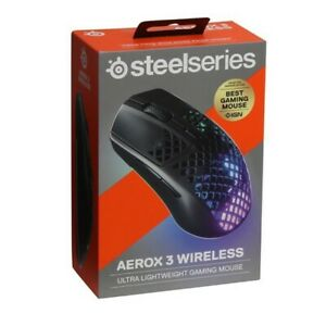 Authentic STEELSERIES Aerox 3 RGB Wireless Optical Gaming Mouse 5 Buttons