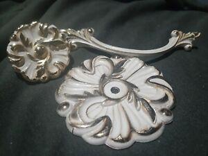 Vintage Cabinetry hardware. RDCA 1960 gold base w/brushed white  Floral.