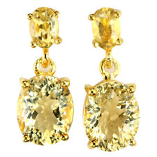 NATURAL AAA ORANGISH YELLOW CITRINE OVAL STERLING 925 SILVER DANGLE EARRING