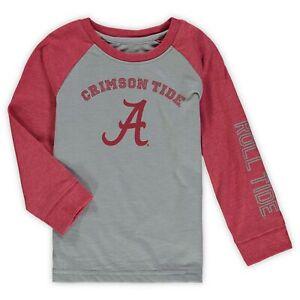 Alabama Crimson Tide Colosseum Toddler Long Sleeve Raglan T-Shirt - Heathered