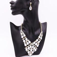 Wedding Bride Bridesmaid Clear Rhinestone Gem Pendant Necklace Earrings Jewelry