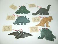 Lot 6 Vintage Wooden Dinosaur Christmas Ornaments Midwest Importers Cannon Falls