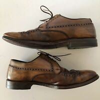 Air Ride Crosby Square US 10 Brown Patina Distressed Leather Executive Shoes