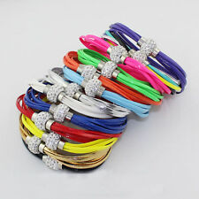 Women Multilayer PU Leather Wristband Shamballa Magnetic Crystal Buckle Bracelet