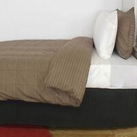 Harvard Mocha Comforter Set | Polyester / Cotton | 130gsm Polyester Fill | Queen