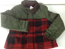 Ralph Lauren Polo Jacket Coat Boys Large 12 14 Hunting Plaid Wool Red Brown