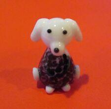 q White dog black spot MINIATURE GLASS FIGURINE   art mini animal sweater
