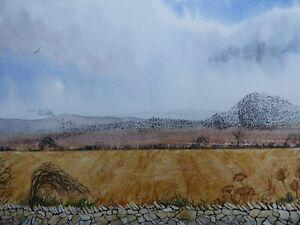 "Welsh Landscape and Starling Murmuration .Original art. Mounted 14x11"""