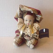 "Vtg. Italian Porcelain Boy Doll Jointed Hand Painted 5"" Tall with Label"