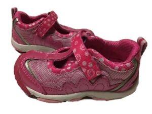 NIB Stride Rite Athletic T-Strap Shoes Tara NMS Hot Pink 5 M 6W